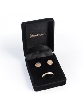 Estuche flocado imitacion terciopelo para conjunto de anillo y pendientes
