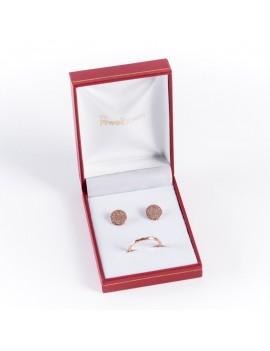Estuche de polipiel para conjunto de anillo y pendientes