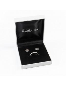 Estuche polipiel para conjunto de anillo y pendientes