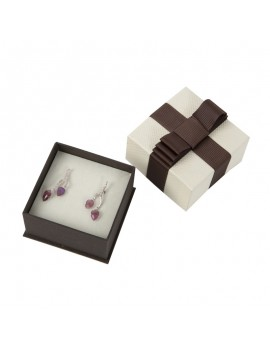 Caja de carton con lazo decorativo para pendientes LOU3