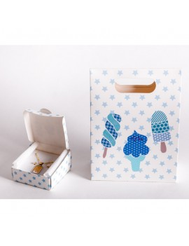 Bolsa + Caja carton multiusos para joyeria infantil y de bebes CBSCH2